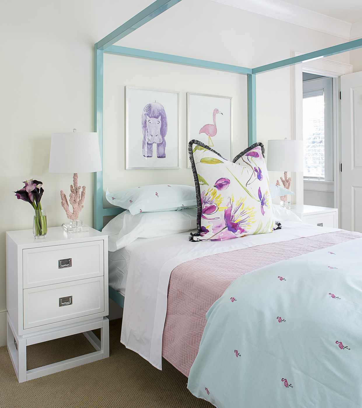 Girl's bedroom; turquoise blue canopy bed; Designers Guild fabrics; pink flamingos; coral lamps | Savage Interior Design