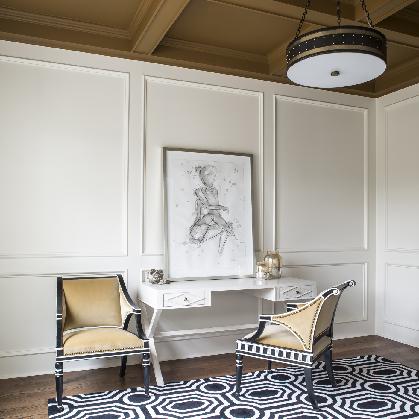 White paneled library; coffered ceiling; Alexa Hampton for Hickory Chair; white Tritter Feefer x-base desk  | Savage Interior Design