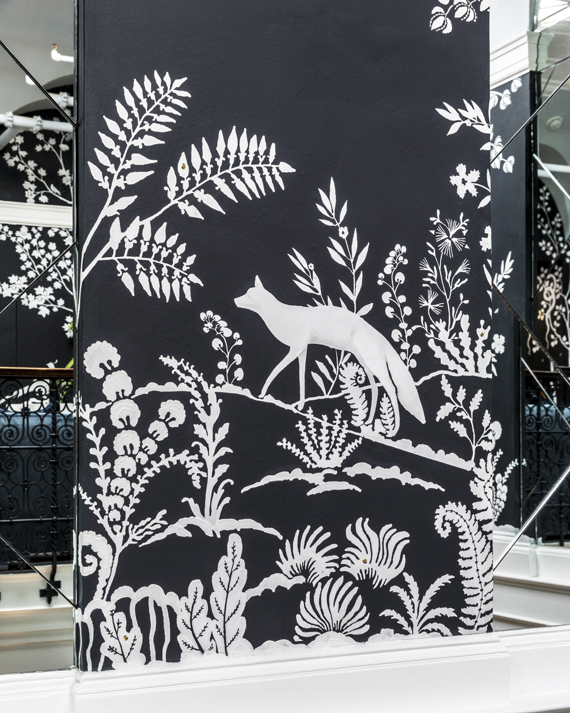 Detail of custom MJ Atelier wallcovering with Tennessee flora and fauna showing red fox in landscape | Savage Interior Design