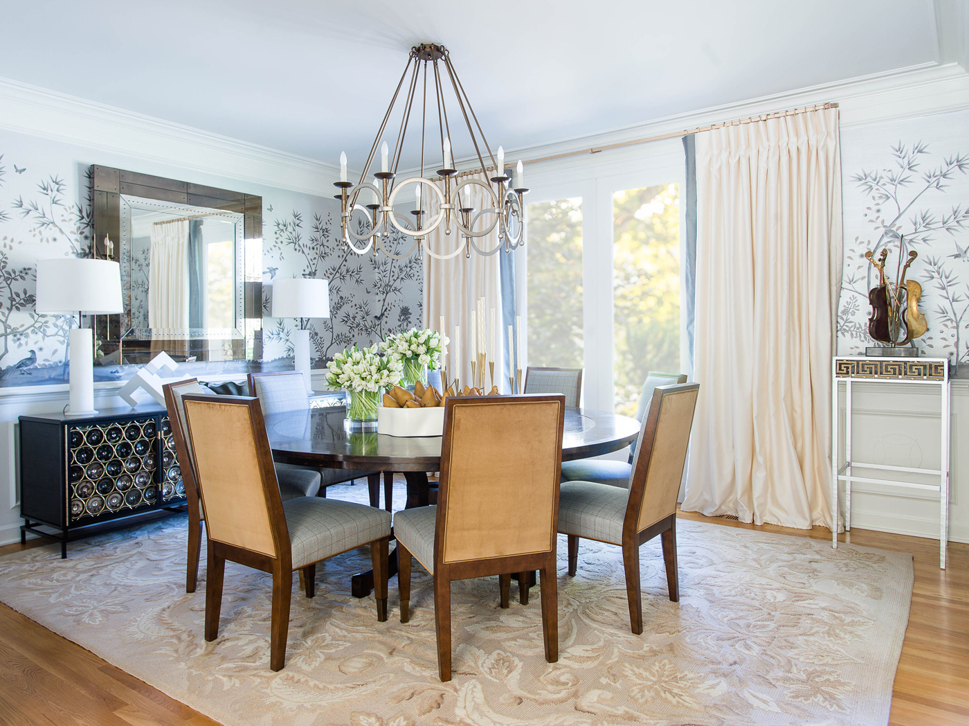 "Elegant Brentwood residence dining room featuring silvery-toned  Fromental wallcovering ""Bambois"" 