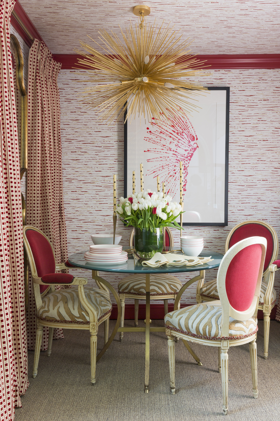 Dining room vignette from 2016 ROOMS WITH A VIEW in Southport, Connecticut.  Inspired by Albert Hadley   Savage Interior Design