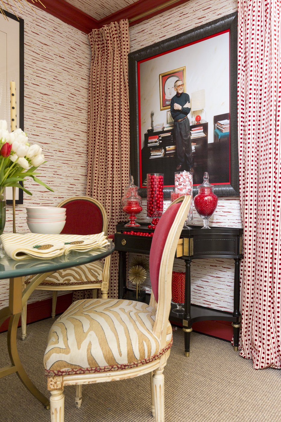 Photo of Albert Hadley hangs on wall featuring Dorothy Draper wallpaper reissued by Carleton V and updated by Jonathan Savage   Savage Interior Design