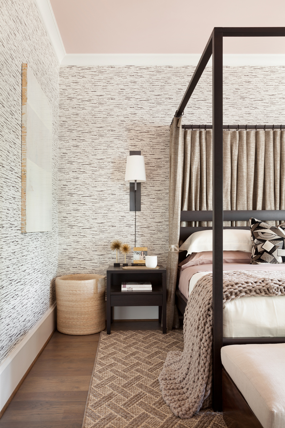Pale pink ceiling with Dorothy Draper wallpaper from Carleton V; Calvin Klein Home bed and end table | Savage Interior Design