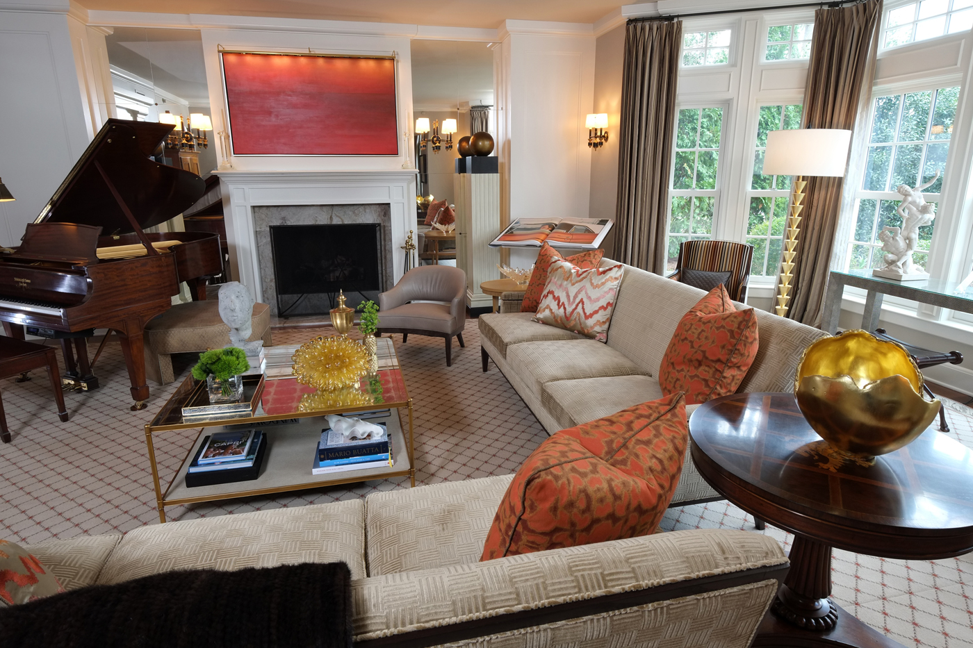 Nashville living room with neutral background and accents of color; red painting by Ed Nash | Savage Interior Design