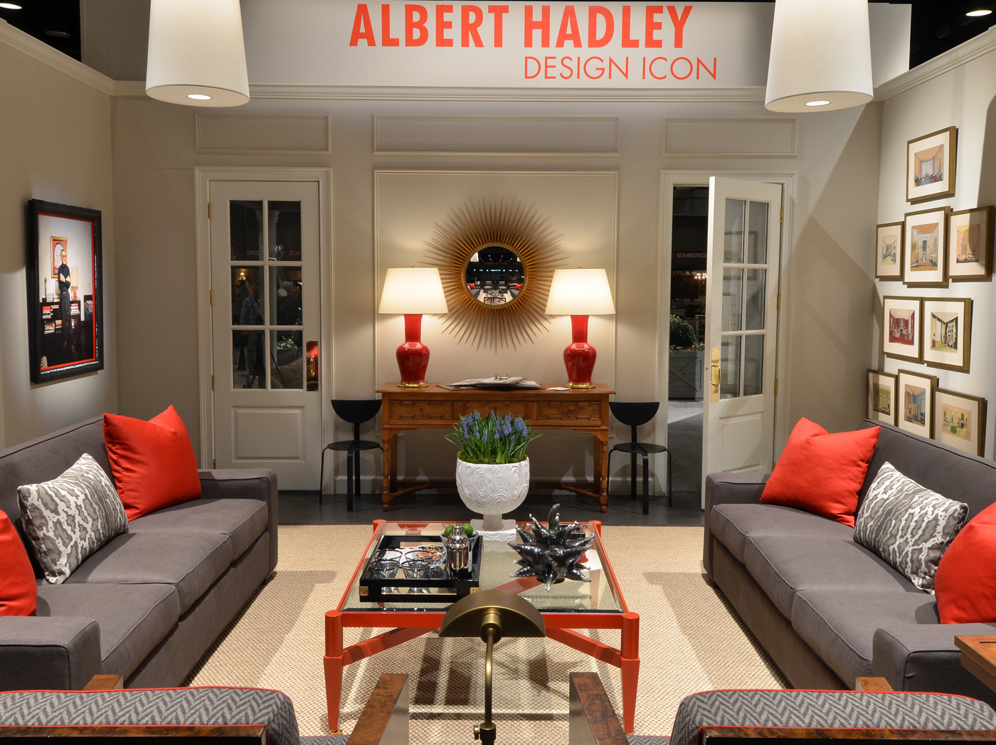 Antiques & Garden Show living room tribute to Albert Hadley with red accents | Savage Interior Design