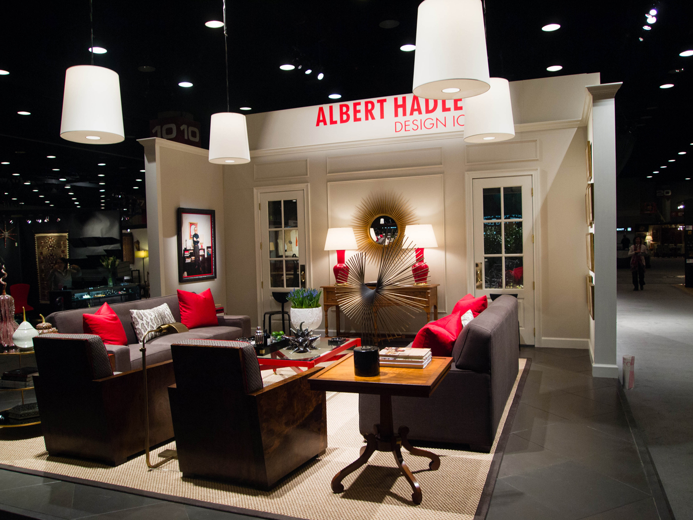 View of Albert Hadley tribute living room installation at Antiques & Garden Show | Savage Interior Design