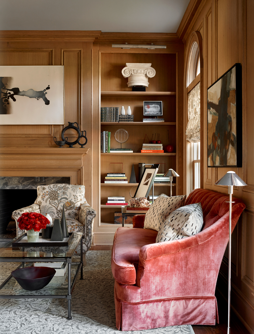 Paneled library; sofa in Holland & Sherry silk velvet; armchair upholstered in Bennison floral | Savage Interior Design