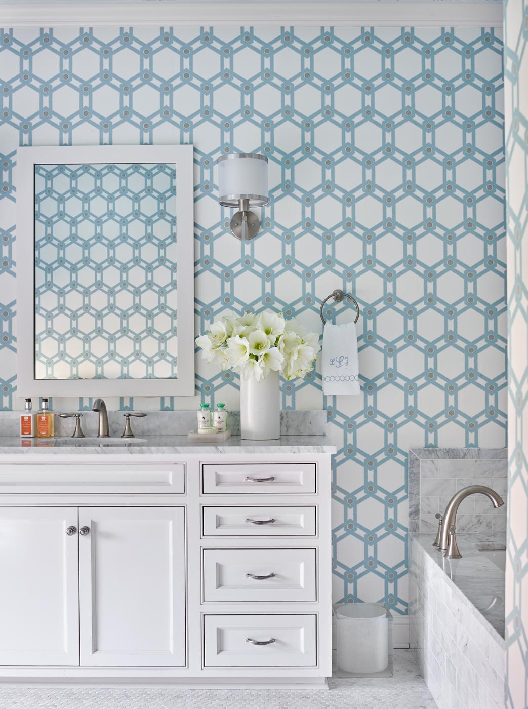 White bathroom cabinetry; white marble; geometric Romo wallpaper (Clairemont in Petro) | Savage Interior Design