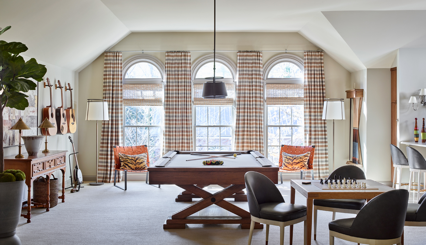 Bonus room with pool table; Zimmer + Rohde stripe window treatments; card table & chairs | Savage Interior Design