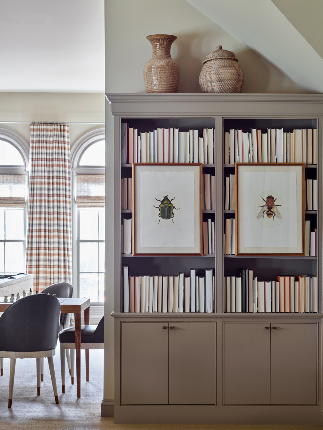 Bonus room bookcase; Zimmer + Rohde stripe window treatments; card table & chairs | Savage Interior Design