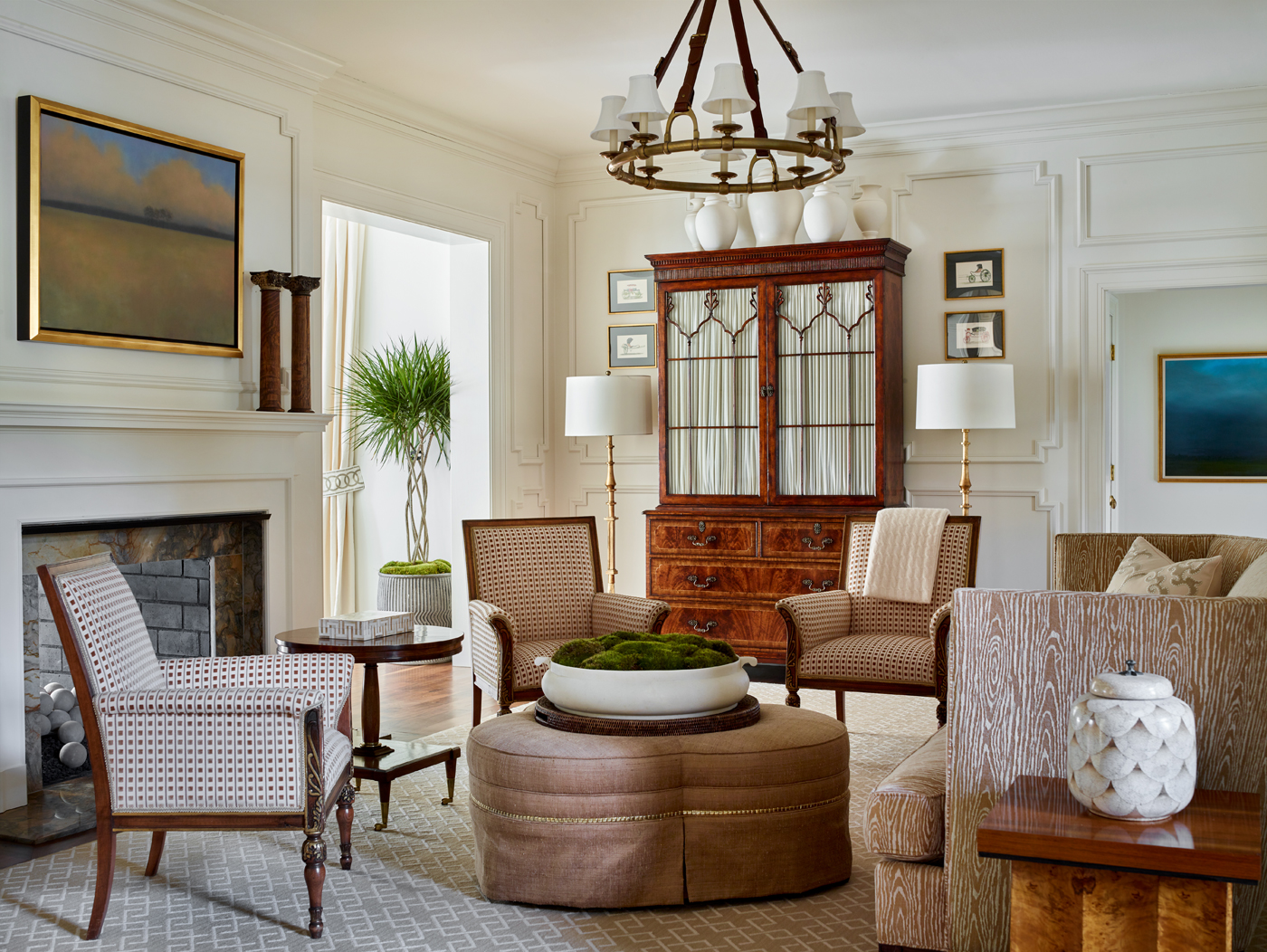 Formal living room with Hickory Chair cloverleaf ottoman and Malbec sofa in Carleton V Ltd faux bois chenille | Savage Interior Design