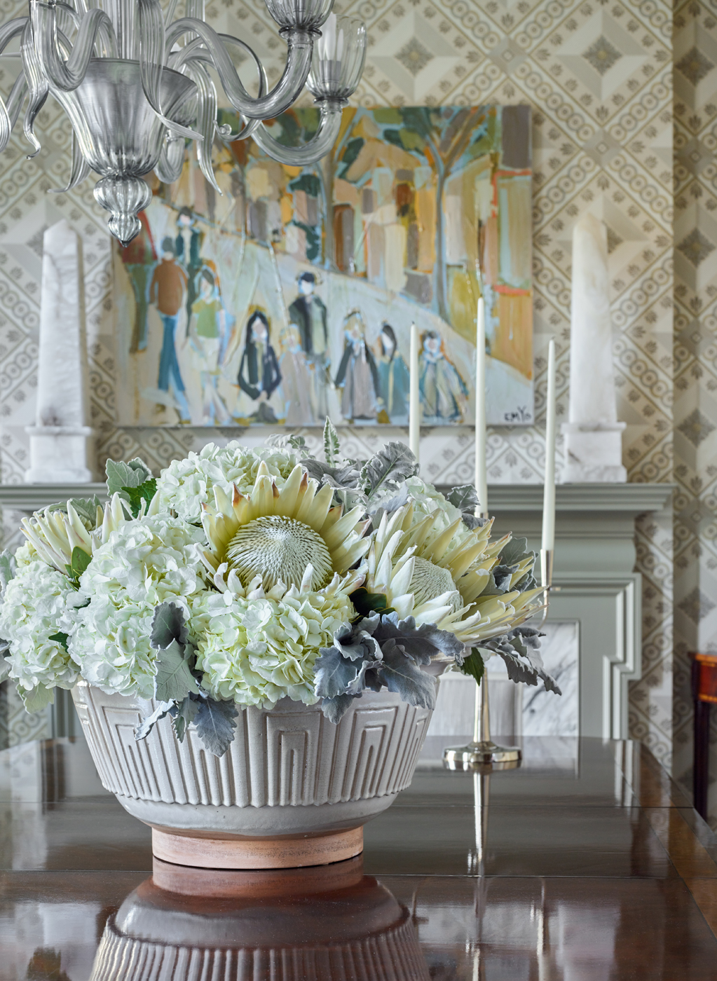Dining room table floral centerpiece with Murano glass chandelier and Carleton V Deco Fret wallpaper | Savage Interior Design