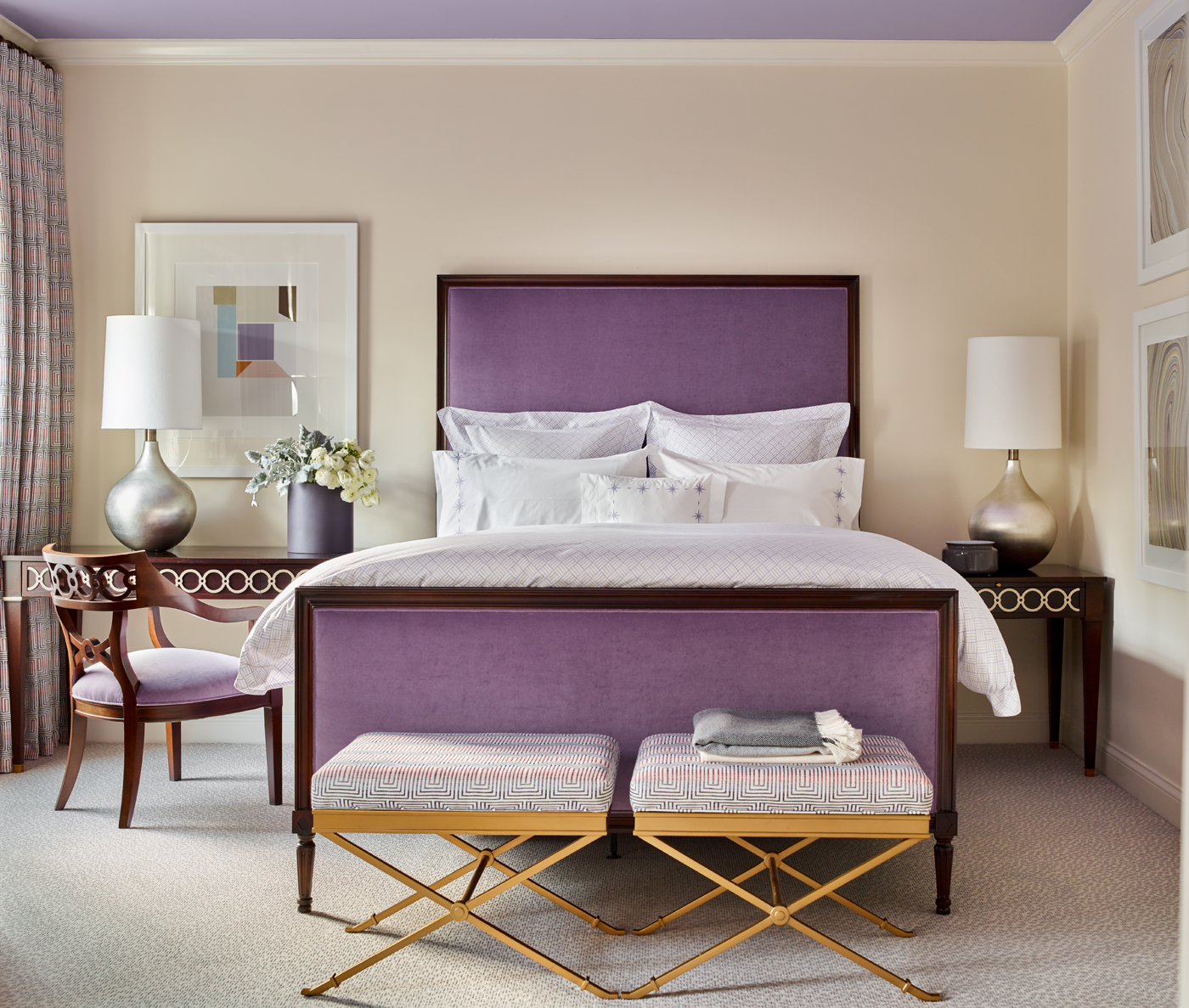 Bedroom with Hickory Chair bed upholstered in amethyst silk velvet from Romo and X-benches | Savage Interior Design