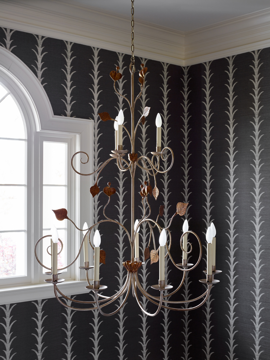 Metal chandelier with copper toned leaves and tendrils; Schumacher Acanthus Stripe wallpaper | Savage Interior Design