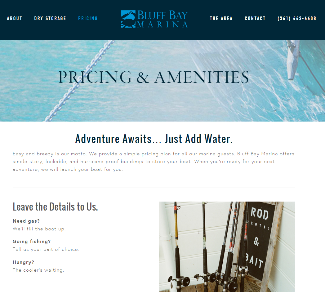Bluff Bay Marina - Pricing Content - Rough Draft Solutions