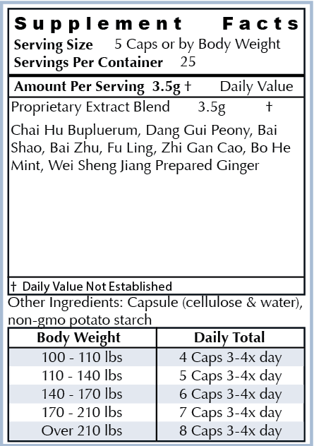 Ingredients: - All Natural Herbs: Chai Hu, Dang Gui, Bai Shao, Bai Zhu, Fu Ling, Zhi Gan Cao, Bo He,Sheng JiangOur ingredients are the highest quality non-GMO natural ingredients sourced from around the world. Our supplements are manufactured in the USA in cGMP facilities registered with the FDA. Many supplement companies add toxic ingredients; we formulate ours with powerful herbs used for centuries and backed by scientific research.
