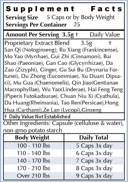 Ingredients: - All Natural Herbs: Ru Xiang, Mo Yao, Gui Zhi, Bai Shao, Gan Cao, Da Zao, Sheng Jiang, Gu Sui Bu, Du Zhong, Xu Duan, Mu Gua, Qin Jiao, Wu Yao, Hai Feng Teng, Chuan Niu Xi, Da Huang, Tao Ren, Hong Hua, Ze Lan, San QiOur ingredients are the highest quality non-GMO natural ingredients sourced from around the world. Our supplements are manufactured in the USA in cGMP facilities registered with the FDA. Many supplement companies add toxic ingredients; we formulate ours with powerful herbs used for centuries and backed by scientific research.