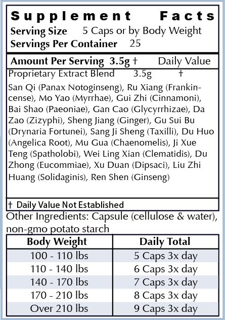Ingredients: - All Natural Herbs: Sang Ji Sheng, Du Huo, San Qi, Ru Xiang, Mo Yao, Gui Zhi, Bai Shao, Gan Cao, Da Zao, Sheng Jiang, Gu Sui Bu, Mu Gua, Ji Xue Teng, Wei Ling Xiang, Du Zhong, Xu Duan, Liu Zhi Huang, Huang Jin Gui, Mo Gu XiaoOur ingredients are the highest quality non-GMO natural ingredients sourced from around the world. Our supplements are manufactured in the USA in cGMP facilities registered with the FDA. Many supplement companies add toxic ingredients; we formulate ours with powerful herbs used for centuries and backed by scientific research.