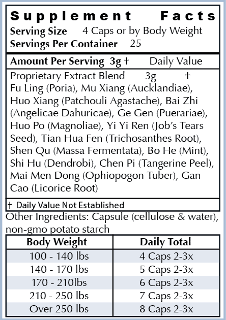 Ingredients: - All Natural Herbs: Fu Ling, Mu Xiang, Huo Xiang, Bai Zhi, Ge Gen, Huo Po, Yi Yi Ren, Tian Hua Fen, Shen Qu, Bo He, Shi Hu, Chen Pi, Mai Men Dong, Gan CaoOur ingredients are the highest quality non-GMO natural ingredients sourced from around the world. Our supplements are manufactured in the USA in cGMP facilities registered with the FDA. Many supplement companies add toxic ingredients; we formulate ours with powerful herbs used for centuries and backed by scientific research.