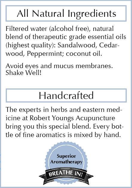 Ingredients: - Only Therapeutic Grade Essential oils are used.Superior aromatherapy. NO Alcohol, NO animal testing, NO toxic chemicals.Each bottle of essential oils is formulated and labeled by hand, no mass production. Made with love in California.