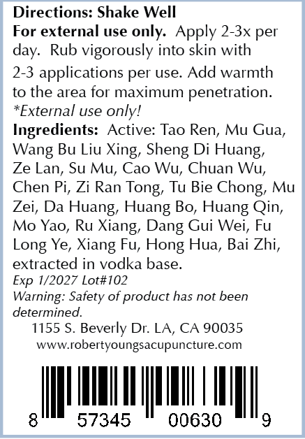 Ingredients: - Tao Ren, Mu Gua, Wang Bu Liu Xing, Sheng Di Huang, Ze Lan, Su Mu, Cao Wu, Chuan Wu, Chen Pi, Zi Ran Tong, Tu Bie Chong, Mu Zei, Da Huang, Huang Bo, Huang Qin, Mo Yao, Ru Xiang, Dang Gui Wei, Fu Long Ye, Xiang Fu, Hong Hua, Bai Zhi, extracted in alcohol (vodka) base.Our ingredients are the highest quality non-GMO natural ingredients sourced from around the world. Our supplements are manufactured in the USA in cGMP facilities registered with the FDA. Many supplement companies add toxic ingredients; we formulate ours with powerful herbs used for centuries and backed by scientific research.