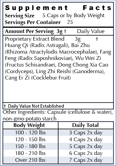 Ingredients: - Huang Qi Astragalus, Bai Zhu, Fang Feng, Wu Wei Zi, Dong Chong Xia Cao Cordyceps, Ling Zhi ReishiOur ingredients are the highest quality non-GMO natural ingredients sourced from around the world. Our supplements are manufactured in the USA in cGMP facilities registered with the FDA. Many supplement companies add toxic ingredients; we formulate ours with powerful herbs used for centuries and backed by scientific research.
