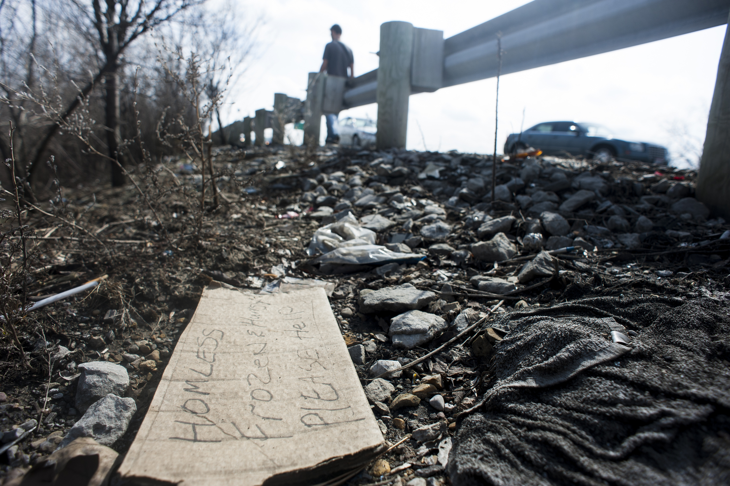 Due to the high volume of traffic, interstate exits serve as frequent panhandling spots for the homeless in Columbus.