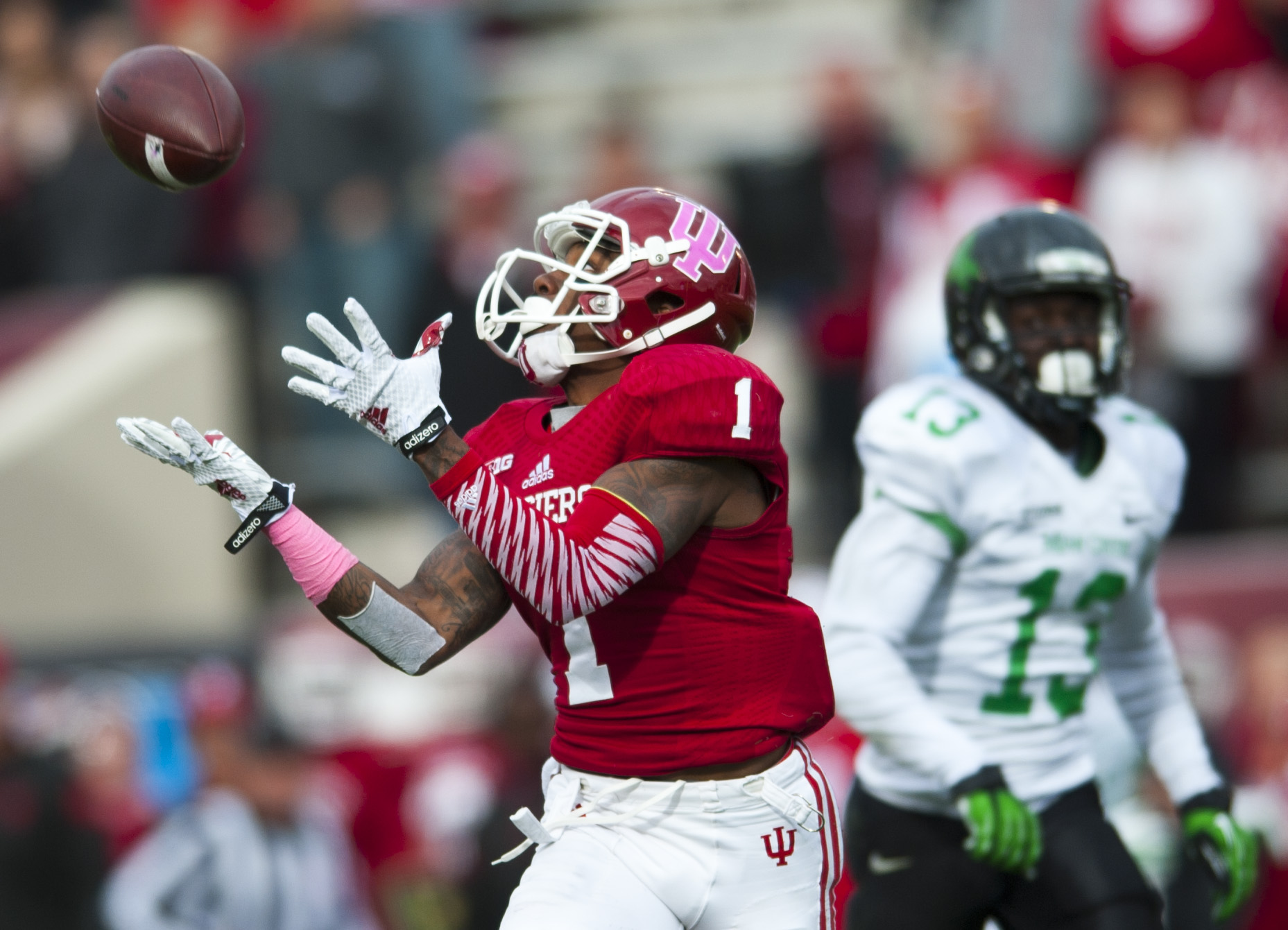 Indiana University's Shane Wynn successfully catches a pass and goes on to score a touchdown for the Hoosiers during the Indiana vs North Texas game on Saturday, October 4 in Bloomington, Indiana.