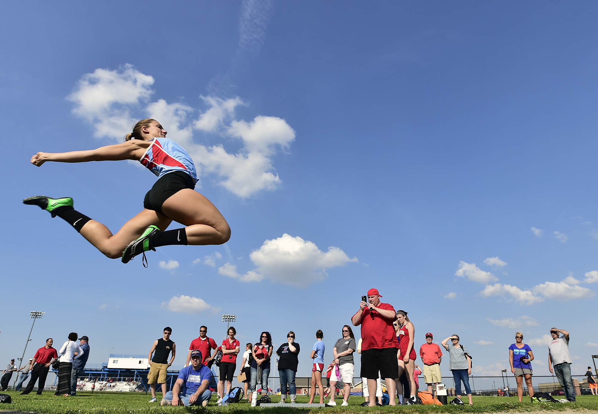 Ridgedale's Laney Davis takes to the air during the long jump event at the Marion County Track Meet hosted at River Valley high school on Wednesday, May 6.