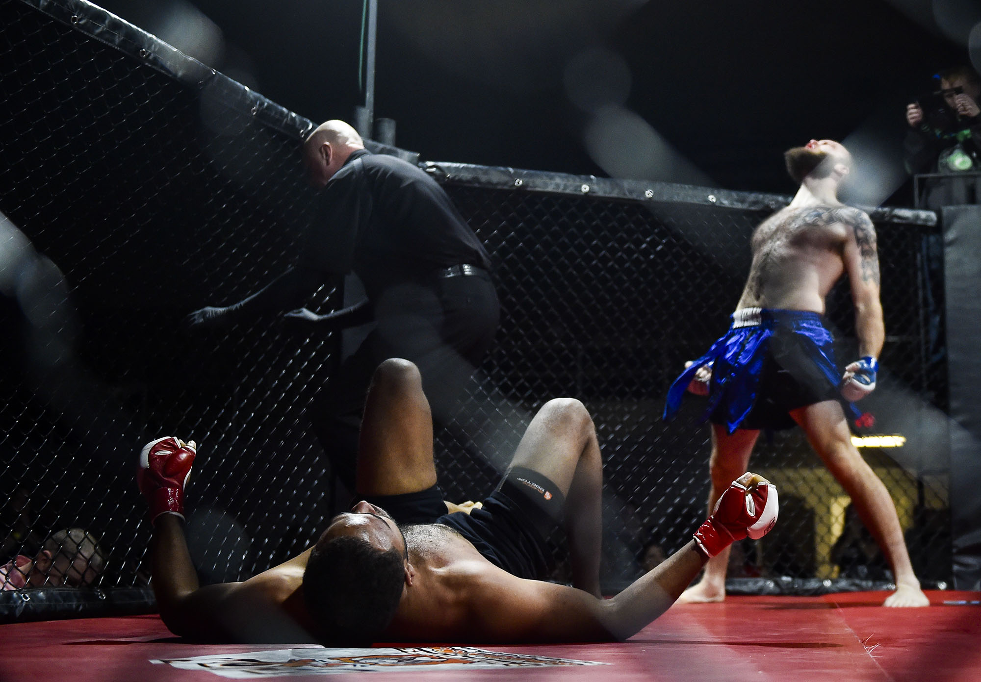 Zac 'The Wolfman' Dominique howls after his subission victory over Joshua Bates during the Warrior Nation Fight Series: Marion Mania III mixed martial arts event held at the Veteran's Memorial Coliseum in Marion, Ohio on February 4th, 2017.