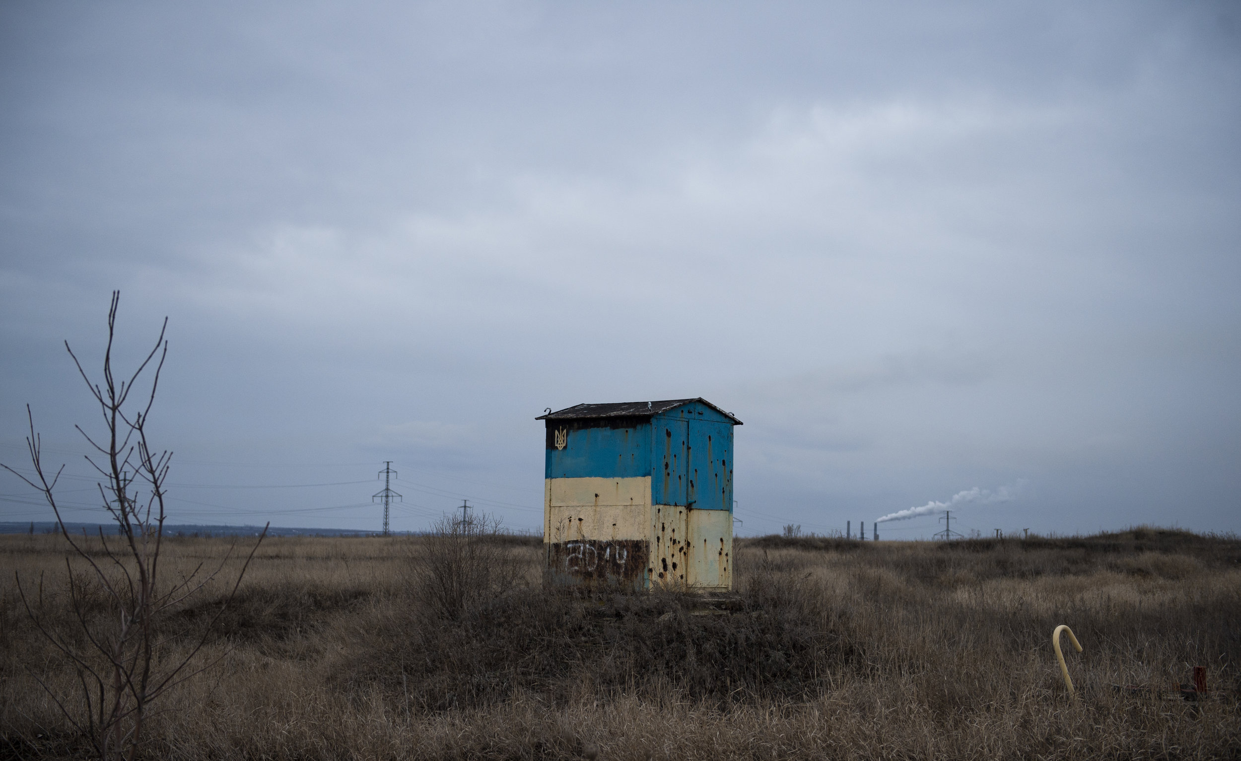 A bullet riddled pump house several kilometers from the nearest town retains the evidence of a vicious battle that raged nearby a few years ago, the Battle of Debaltseve.