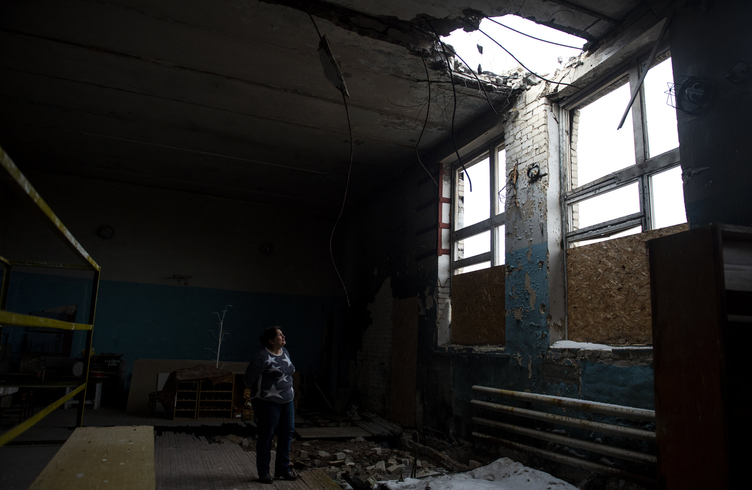 A school in Krimsky bears the ever present danger of shelling on the frontlines of the conflict. The school still operates thought shelling is a frequent occurrence in the area.