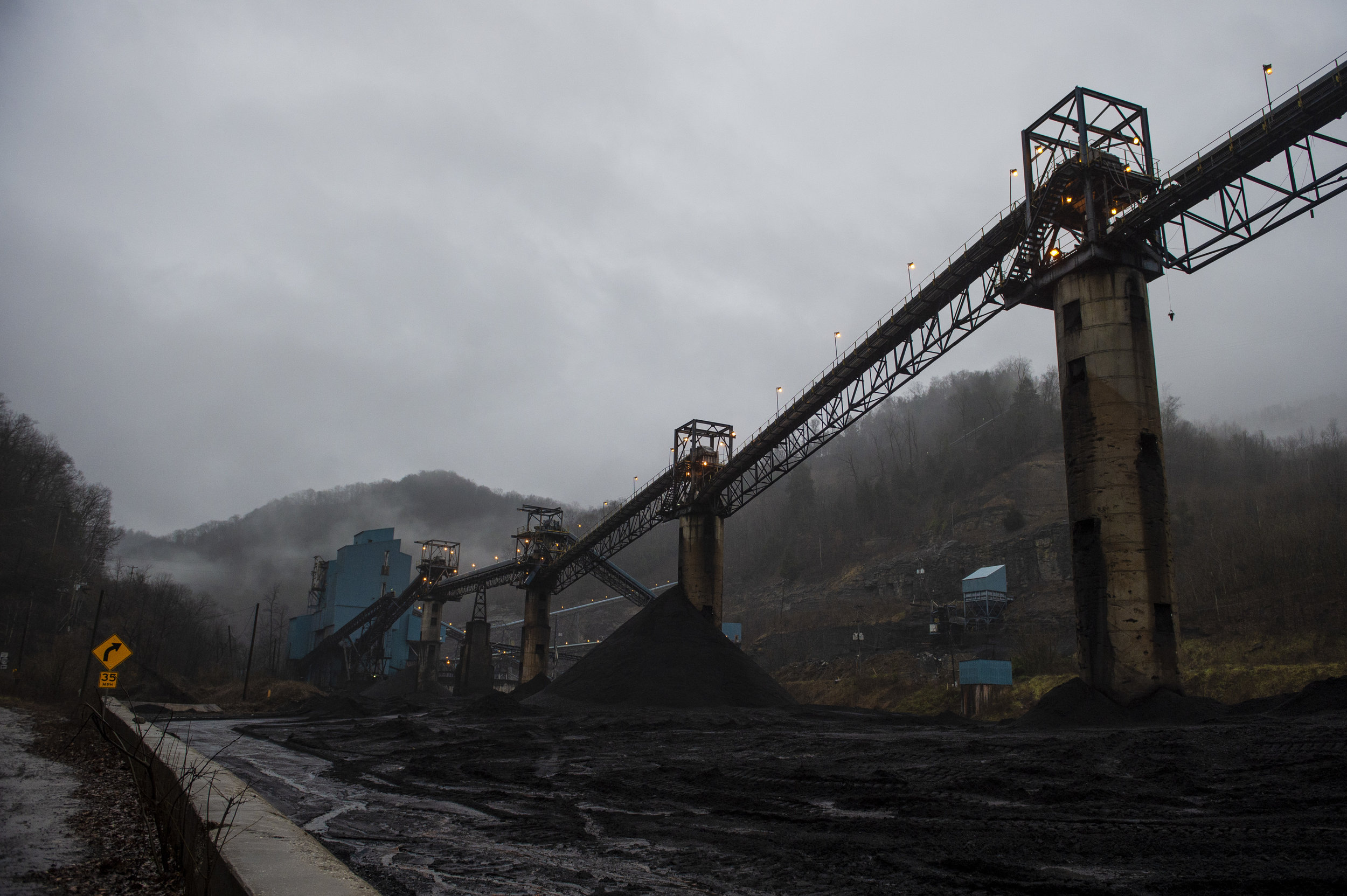 Rain or snow, fog or ice, a coal processing plant along Kentucky Highway 194 continues to operate on Friday, January 17.