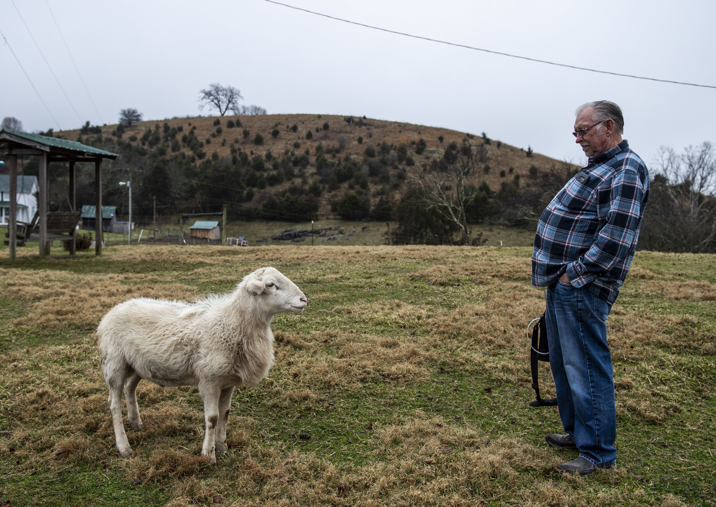 Paul Kinder and one his rams share a moment on his homestead on the outskirts of Honaker, Virginia on Friday, January 18. Paul, who worked in the mines since he was a teenager, lives with Black Lung Disease. While it limits his mobility, he makes it a point to 'take it slow' and get outside to check on his rams and chickens.