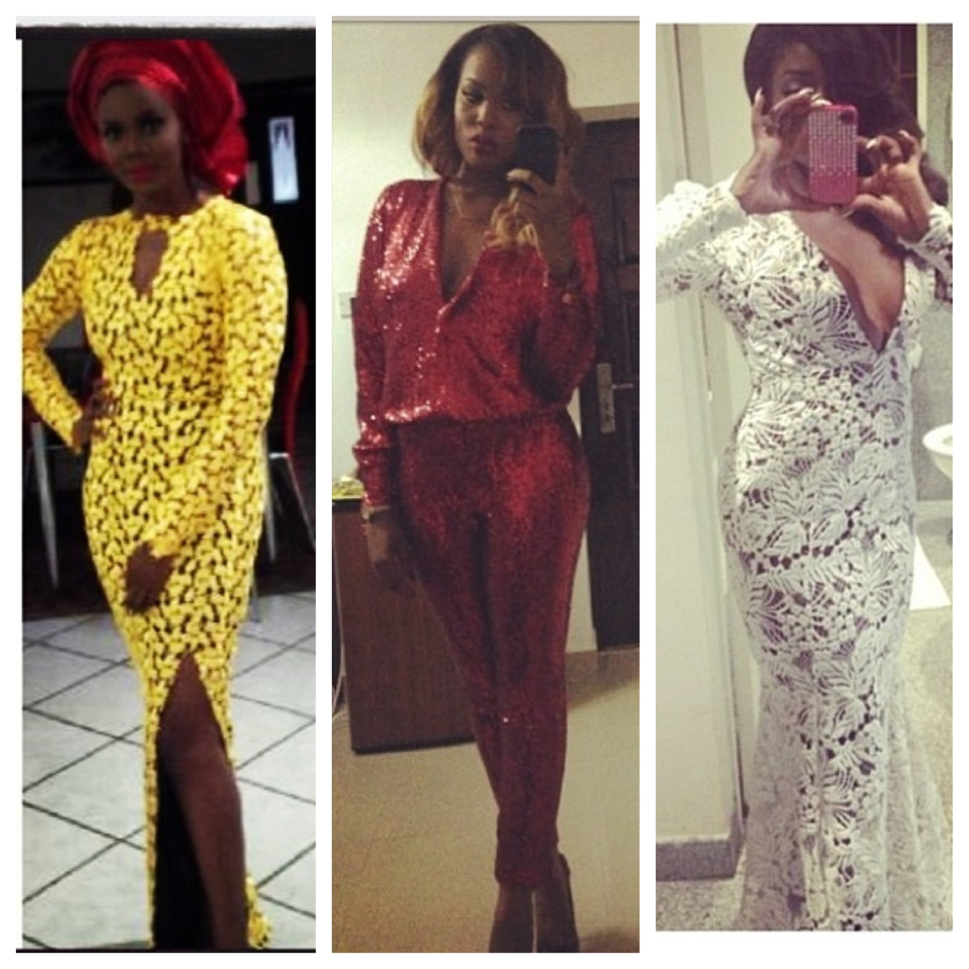 You thought Guipure lace and Iro and Buba were styles of your mom's time right? Well think again.  Nigeria's Matopeda (Tope) Abiola of Frock it Rock it is making these classic trends new again.  From sculpted Guipure lace gowns with sexy cut-outs and modern numbers like the sequined romper pictured above, to well placed printed silk and chiffon Iro & Bubas Tope is giving old styles a fresh take.  So if you've been wondering why you've been seeing Guipure Lace on everyone from Kim K to Zara fast fashion spreads, wonder no more.  Tope makes all styles by request so whatsapp her at 011 234 708 036 7773.  Photos from instagram @topeFnR