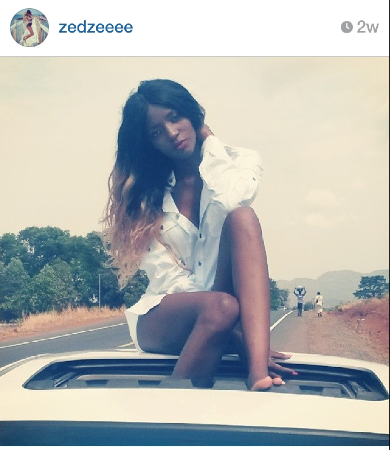 Zainab's posts don't reveal what song they are shooting the video for but they are definitely serving us some Salone goodness in this shoot.  Zainab is super sexy in her boyfriend shirt and heels and Emmerson is always cool.  They even captured a couple of locals in the background of Zainab's sunroof shot. Ha! Always good to see our people collaborating across industries.  We'll be looking out for the final product.