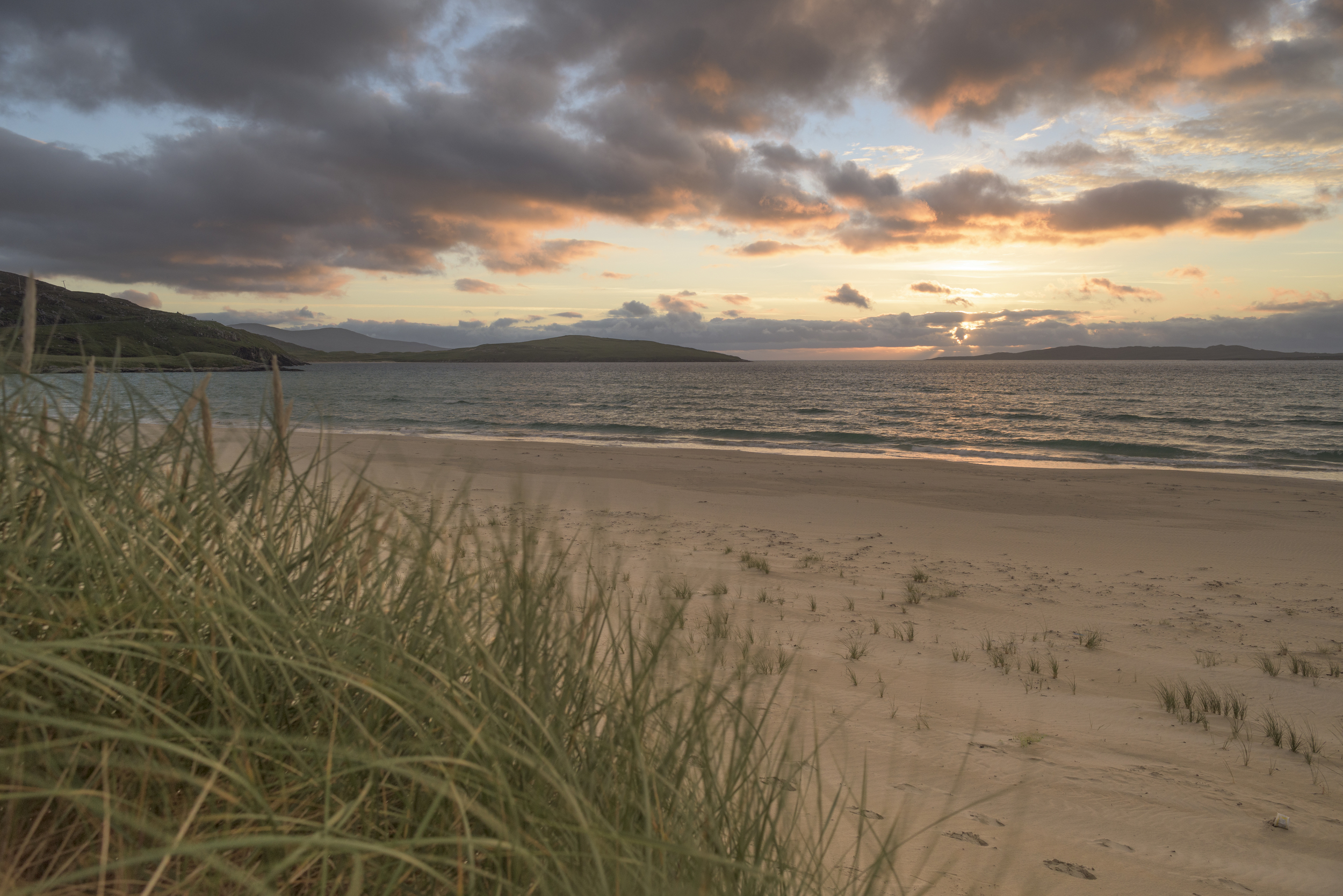 Looking west towards the sunset from Traigh Sheileboist, South Harris.