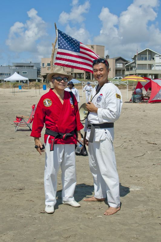 Grandmaster Kim Soo and Master Sean Kim Beach Training,July 2015