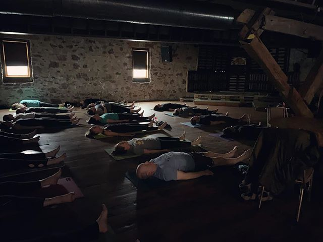 """In the midst of movement & chaos, keep stillness inside you."" #yogaandhops #marquettemi #yoga #beer #breweryyoga #savasana @oredockbrewing @breakwaterseltzer"