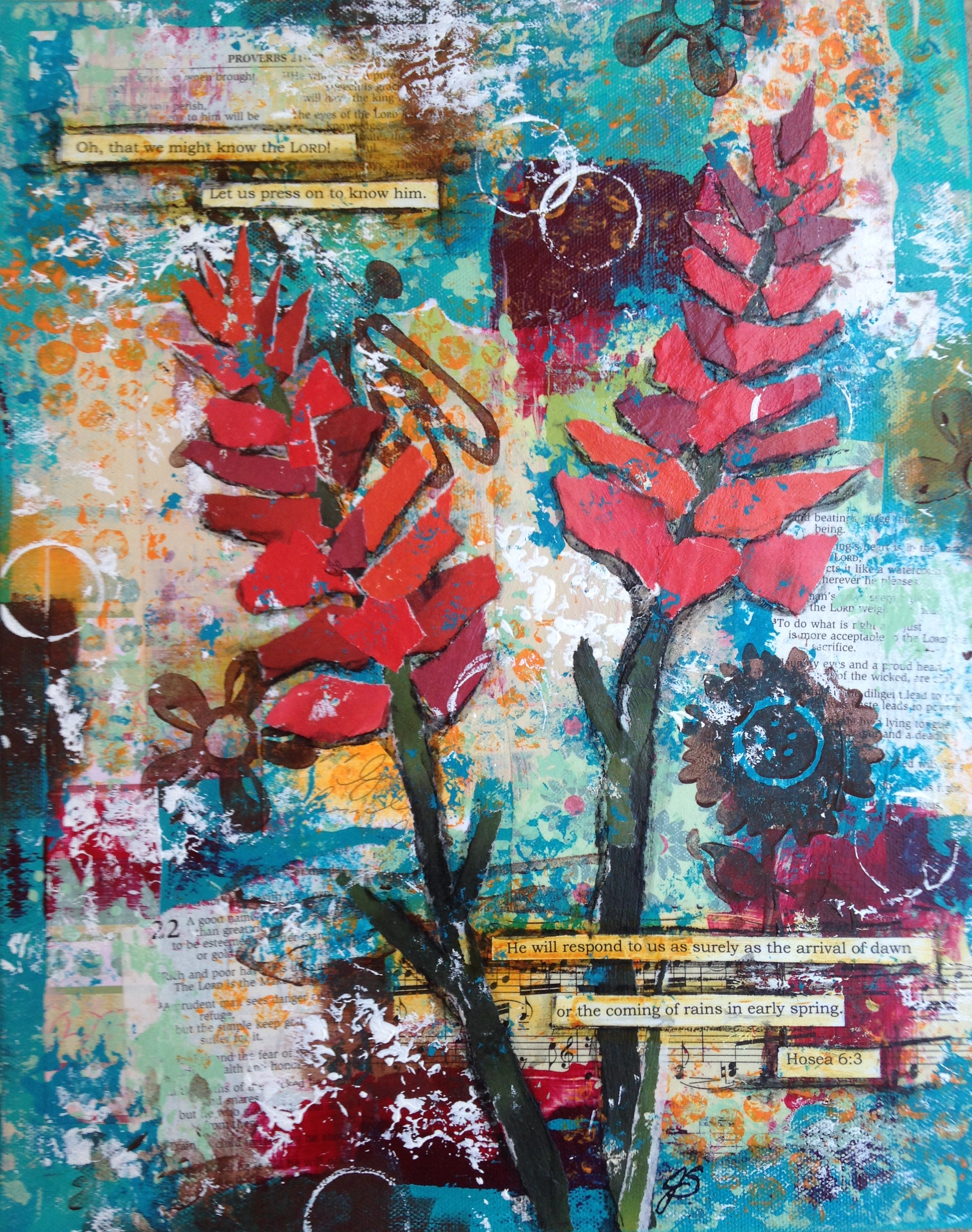 "Indian Paintbrush by Jennifer Snellings, Mixed media, 11""x14"""