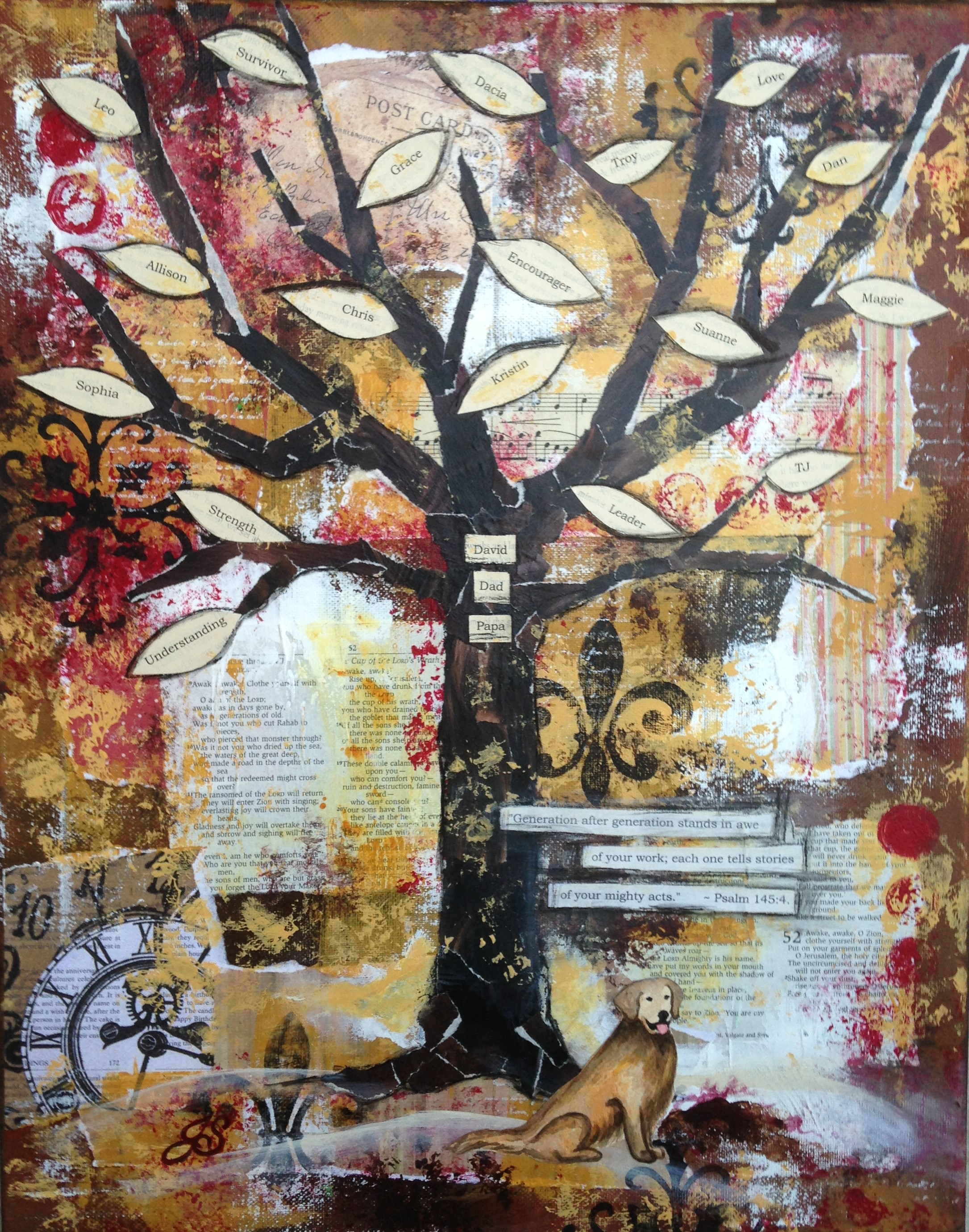 Legacy Tree for David, Mixed Media by Jennifer Snellngs, SOLD