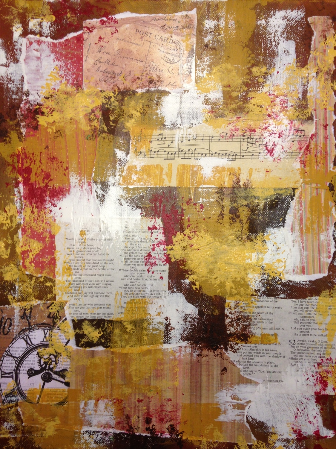 Layering collage elements and more paint.