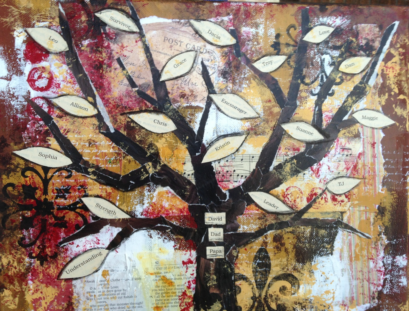 Adding the tree and leaves.  The tree was created with recycled magazine pages.  The leaves hold family member names.