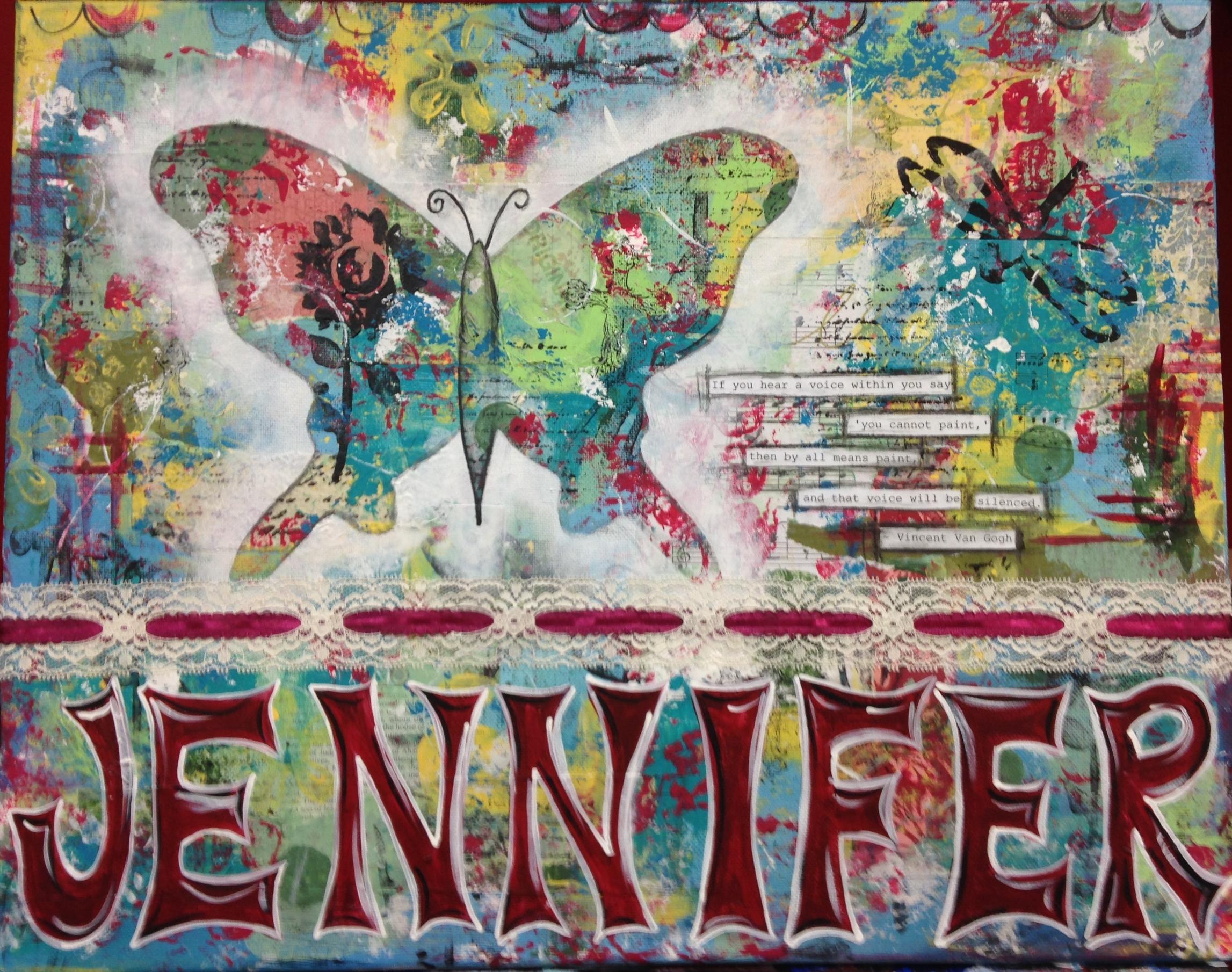 Mixed media artwork by Jennifer Snellings