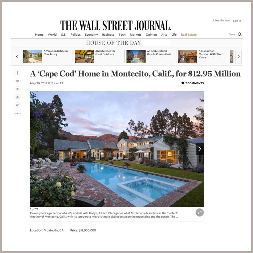 House of the Day:  A 'Cape Cod' Home in Montecito, Calif., for $12.95 Million May 20, 2015 - The Wall Street Journal