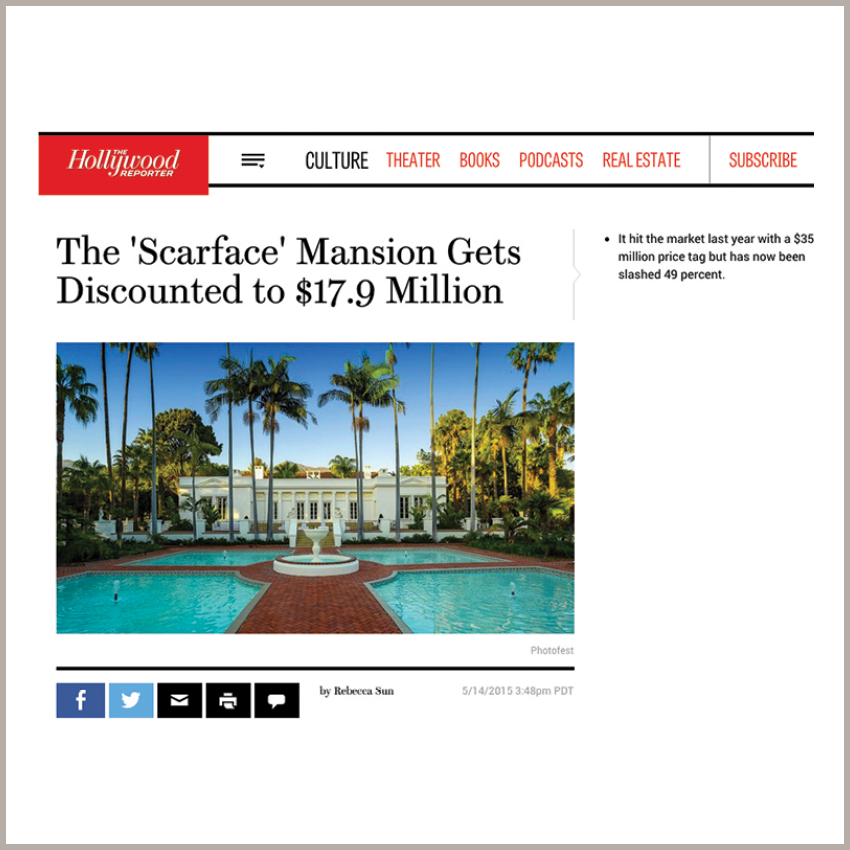 The 'Scarface' Mansion Gets Discounted to $17.9 Million   May 14, 2015 - The Hollywood Reporter