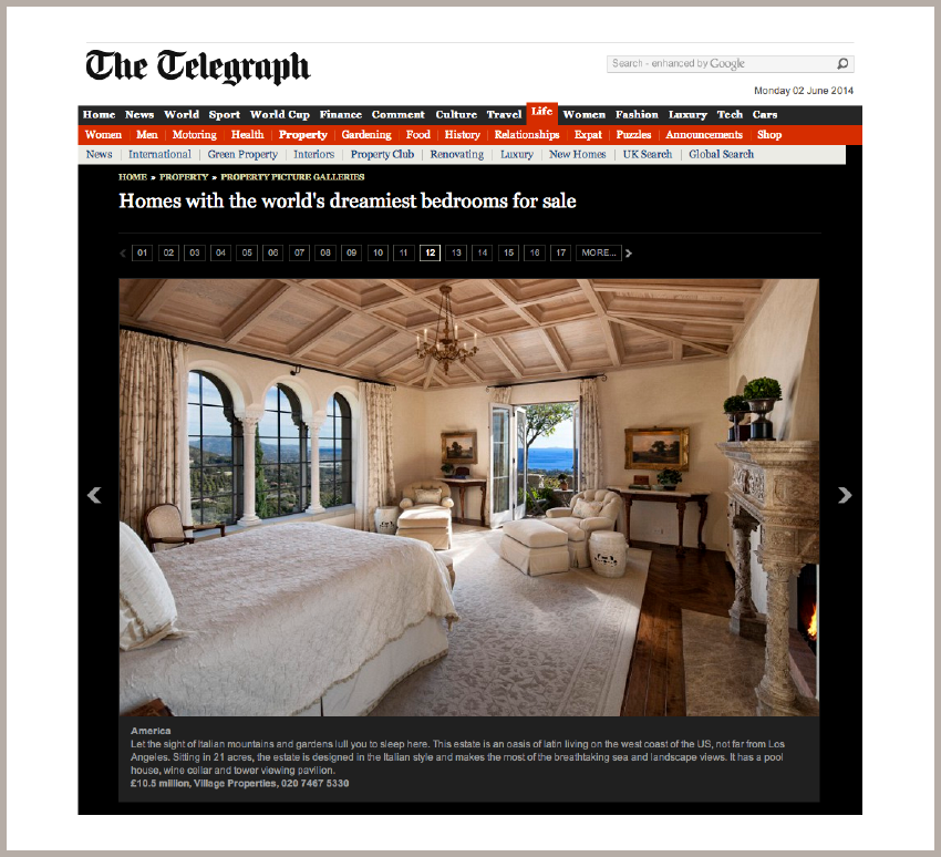 Property: Homes with the World's Dreamiest Bedrooms June 2, 2014 - The Telegraph - UK