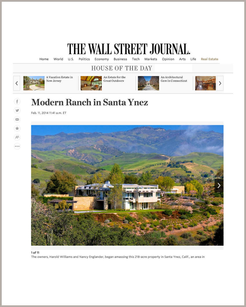 House of the Day: Modern Ranch in Santa Ynez February 11, 2014 - The Wall Street Journal