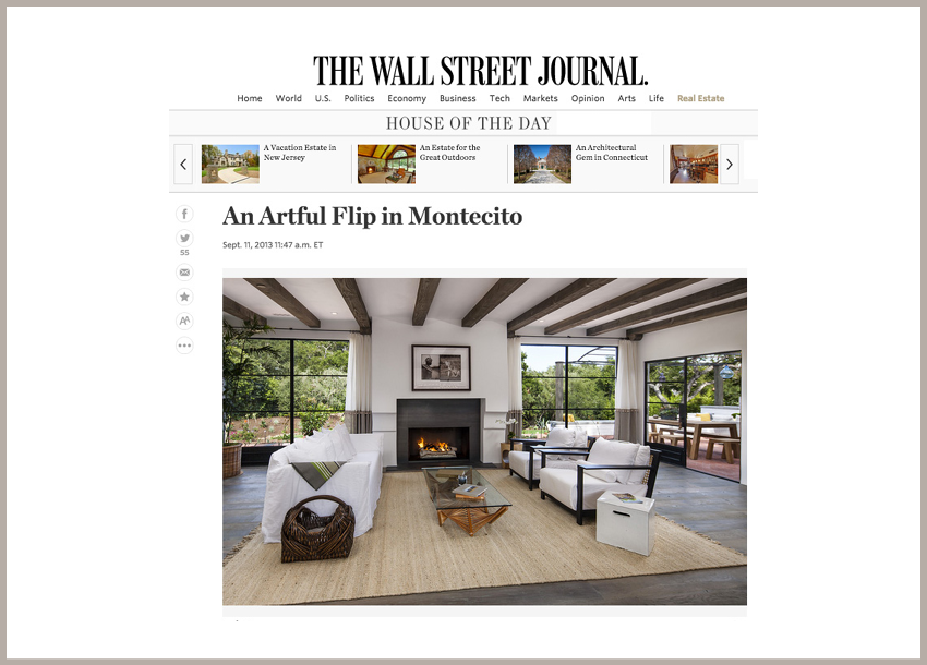 Wall Street Journal's House of the Day - An Artful Flip in Montecito September 11, 2013 - The Wall Street Journal