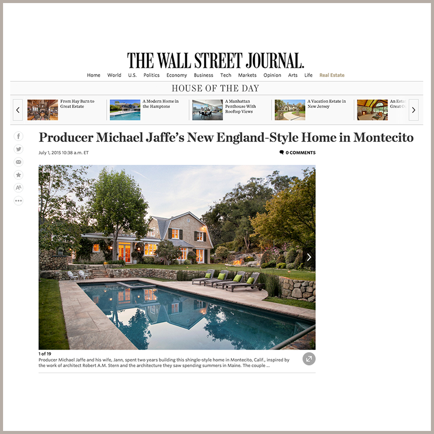 House of the Day: Producer Michael Jaffe's New England-Style Home in Montecito July 1, 2015 - The Wall Street Journal